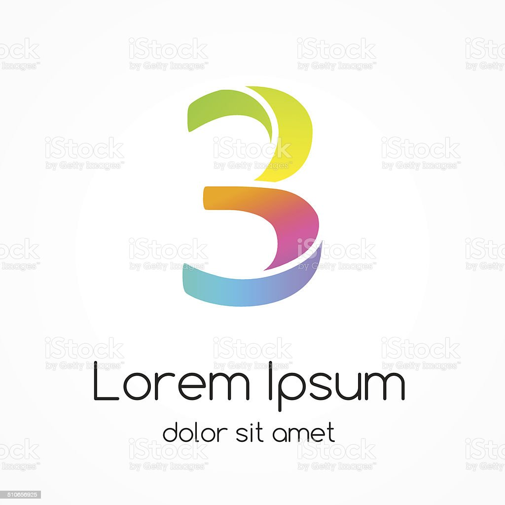 Logo number 3 company vector design template. vector art illustration