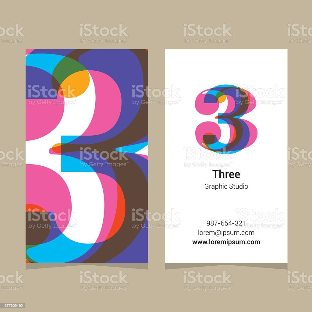 Logo number '3', with business card template.向量藝術插圖