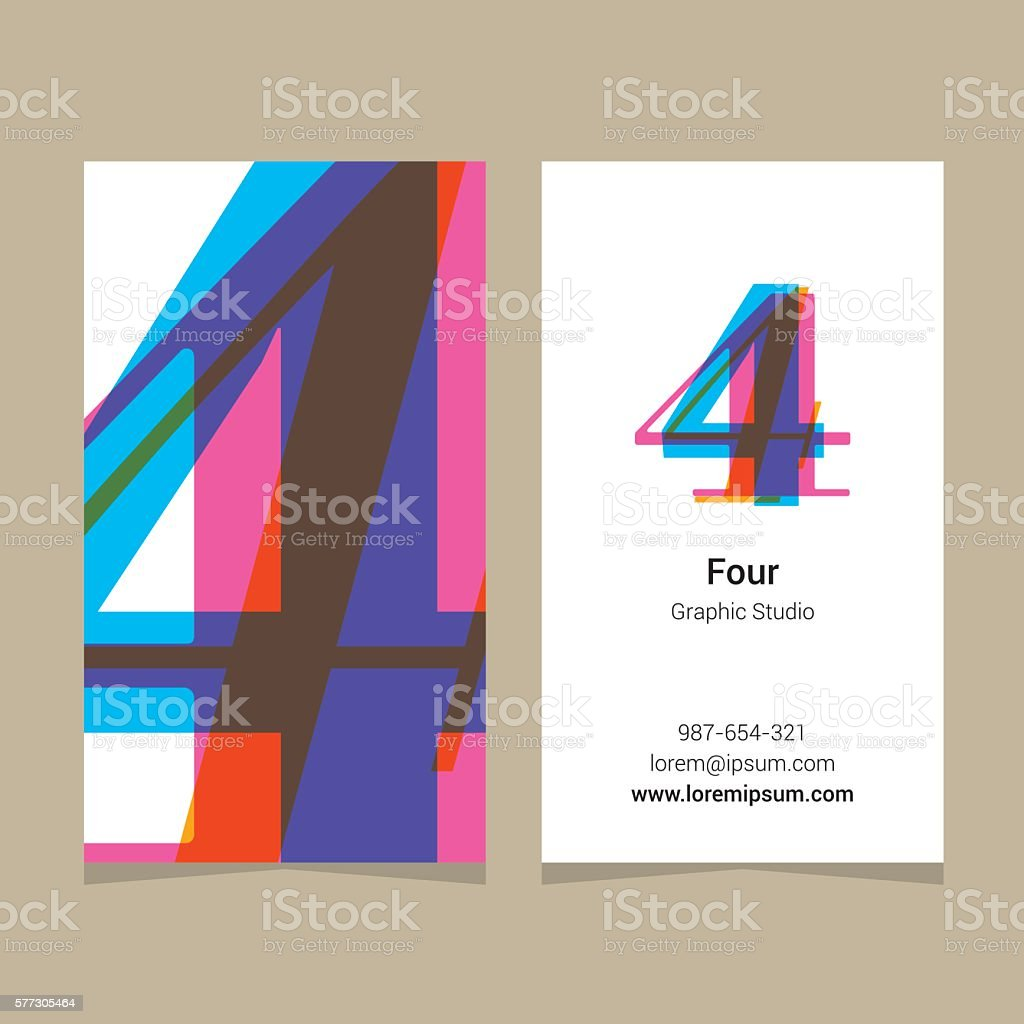 Logo number '4', with business card template. vector art illustration