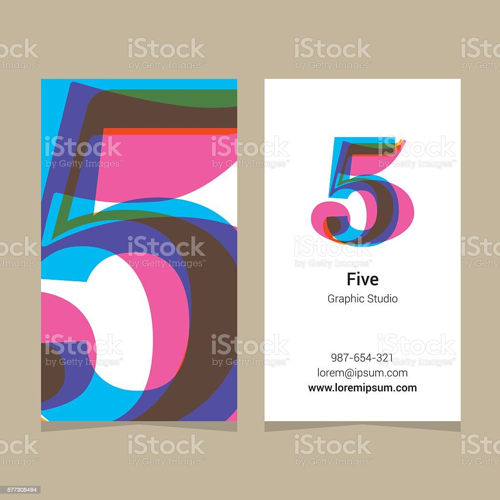 Logo number '5', with business card template. vector art illustration