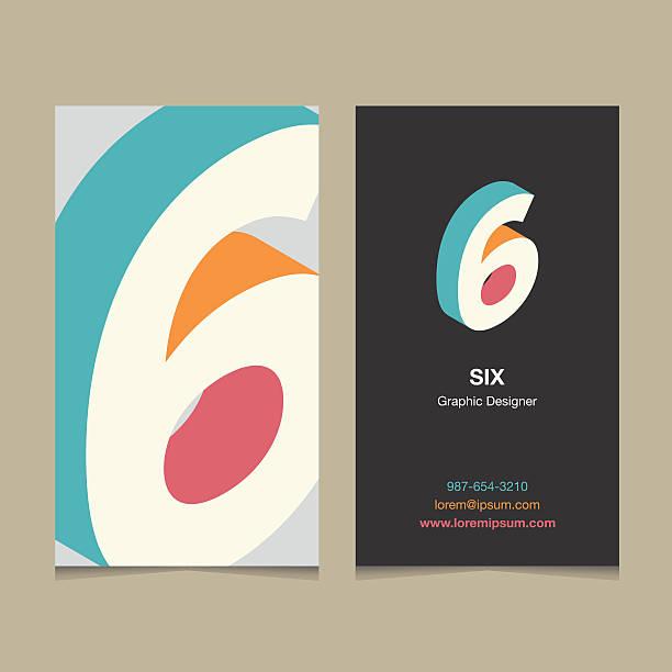 """stockillustraties, clipart, cartoons en iconen met logo number """"6"""", with business card template. - 6 7 jaar"""
