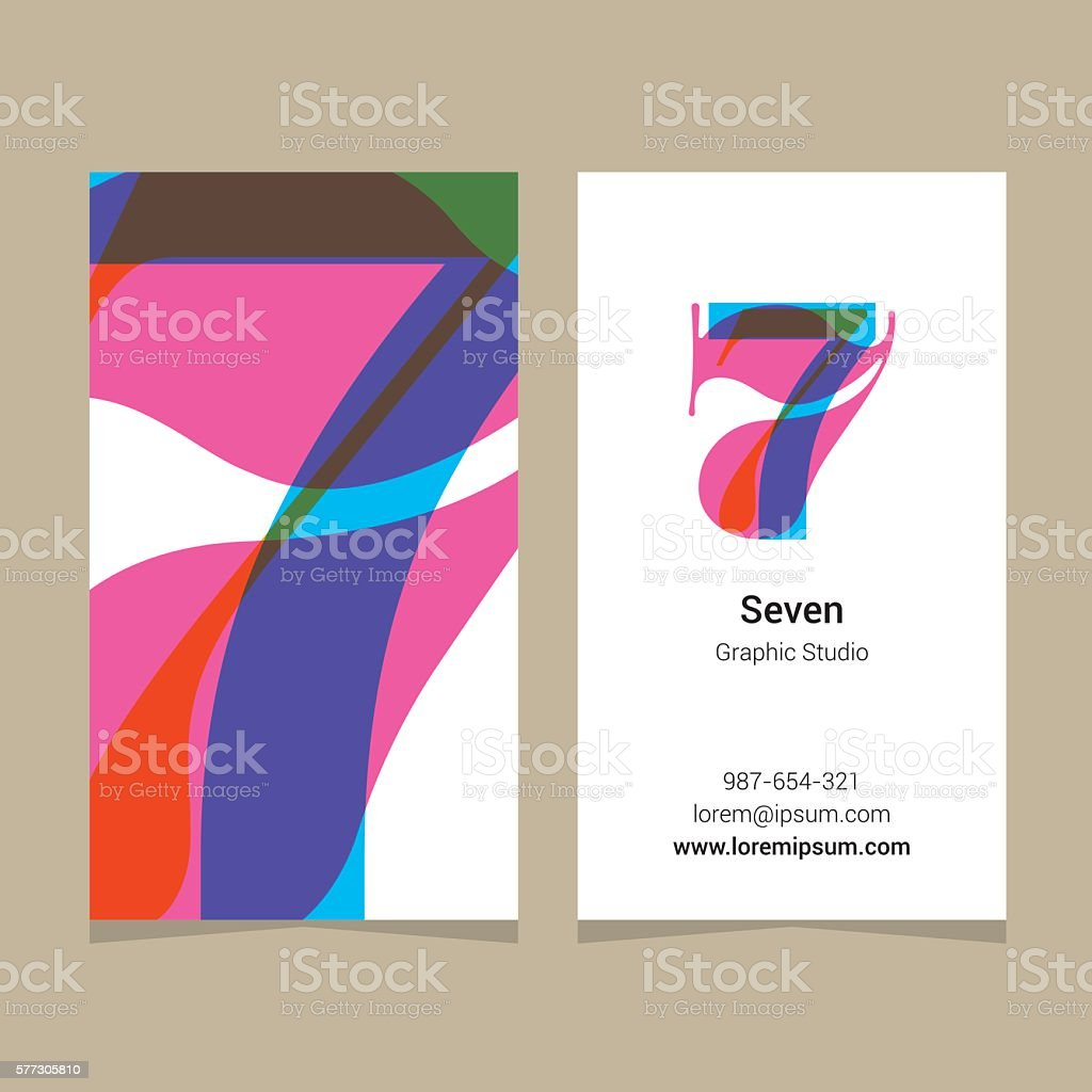 Logo number '7', with business card template. vector art illustration