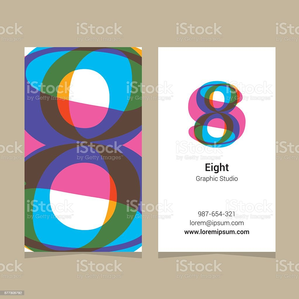 Logo number 8 with business card template arte vetorial de stock e logo number 8 with business card template logo number 8 with business reheart Images