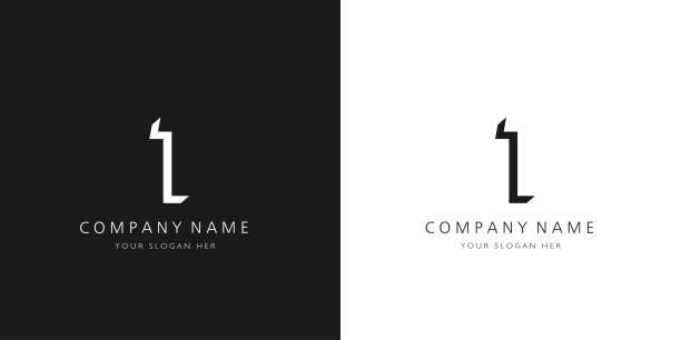 bildbanksillustrationer, clip art samt tecknat material och ikoner med 1 logotyp nummer modern svartvit design - nummer 1