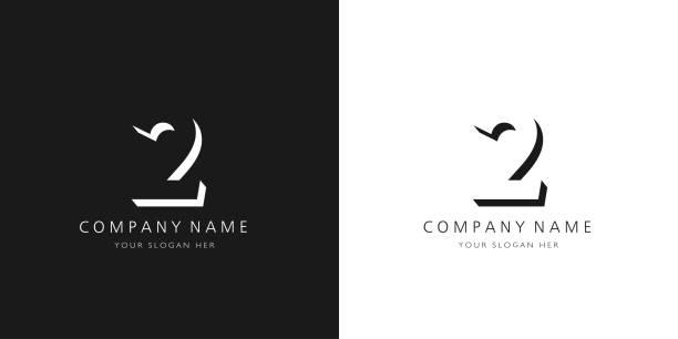 2 logo numbers modern black and white design 2 logo numbers modern black and white design gezond stock illustrations