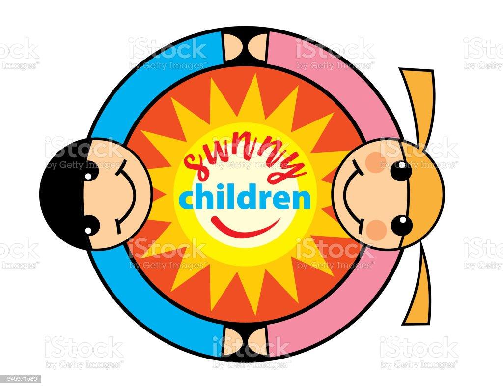 Ilustración de Logotipo De Un Jardín De Infantes Con Sol Chica Y ...