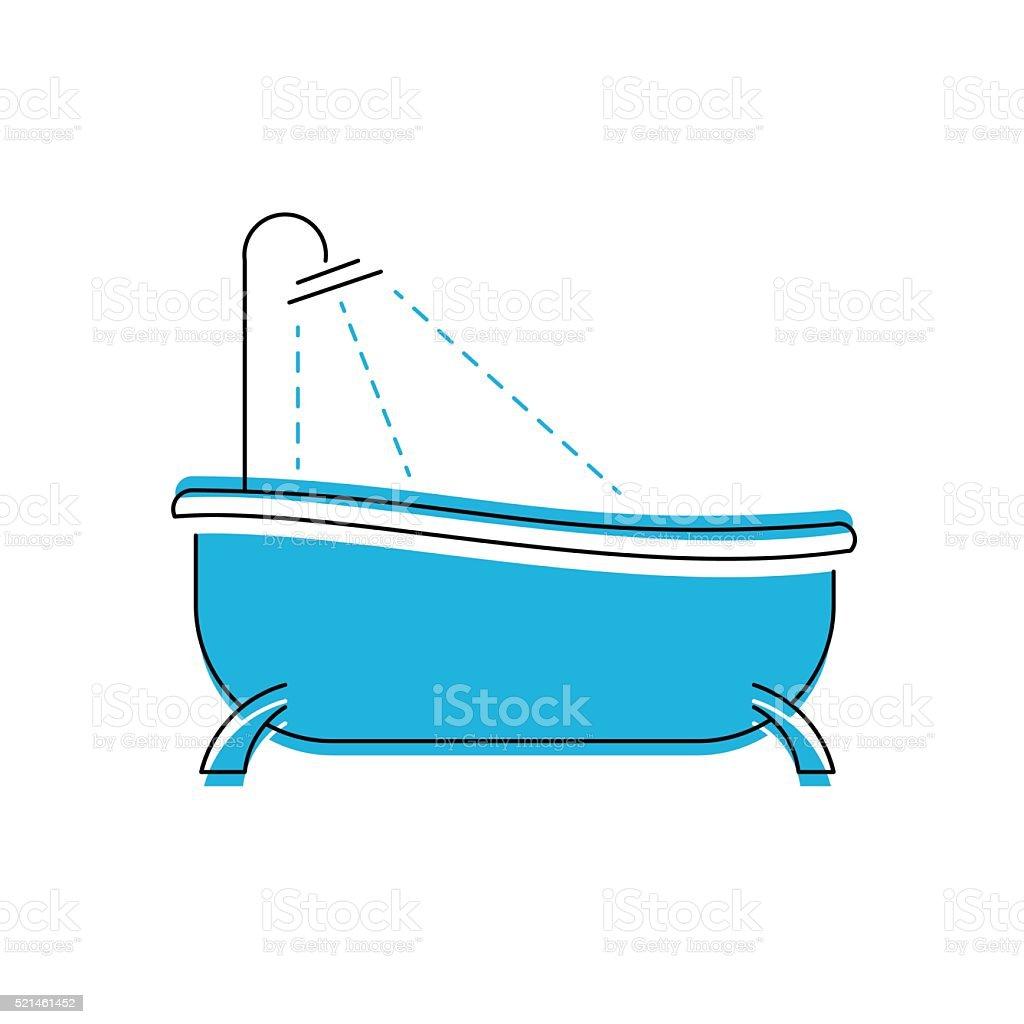 Logo Von Bad Badezimmer Mit Dusche Vektorsymbol Stock Vektor Art