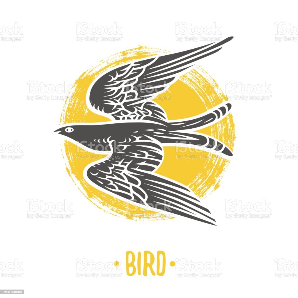 Beyaz Bir Arka Plan üzerinde Kuş Logosu Kat Silah Hanedanlık