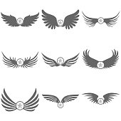 Logo of black wings with a star. Flat design, vector illustration, vector.