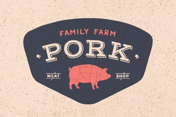 Logo of Butcher meat shop Logo of Butcher meat shop with icon pig, text Pork Meat Shop. Logo graphic template for meat business - shop, market, restaurant or design - menu, poster, banner, sticker, label. Vector Illustration female animal stock illustrations