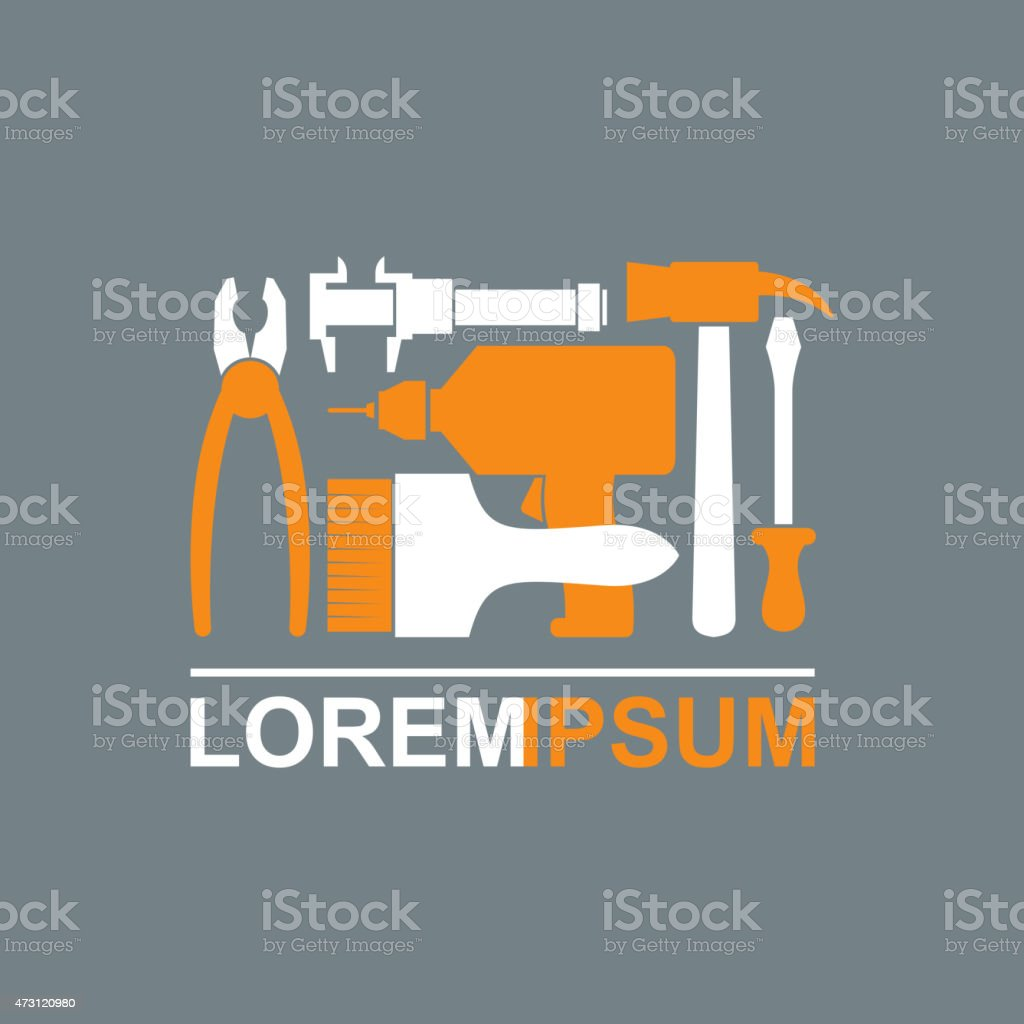 Logo of Construction tools. Carpentry tools to master. vector art illustration