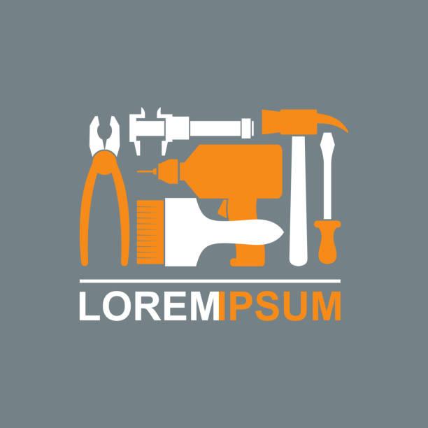 Logotipo ferramentas de construção.   Carpintaria ferramentas para dominar. - ilustração de arte em vetor