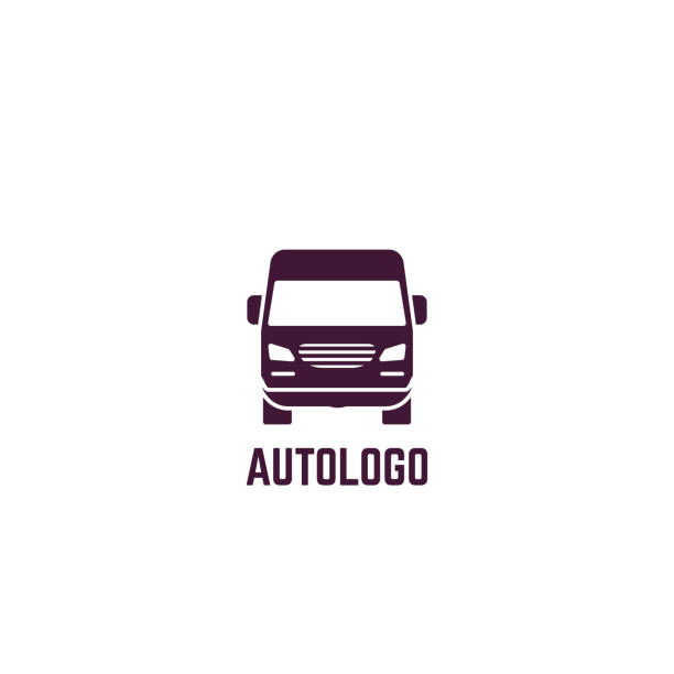Logo of delivery van Truck logo. Front view of delivery truck. Silhouette style vector illustration. Vehicle and transport banner. Delivery and shipping service banner. Minivan transportation concept. Freight business. mini van stock illustrations