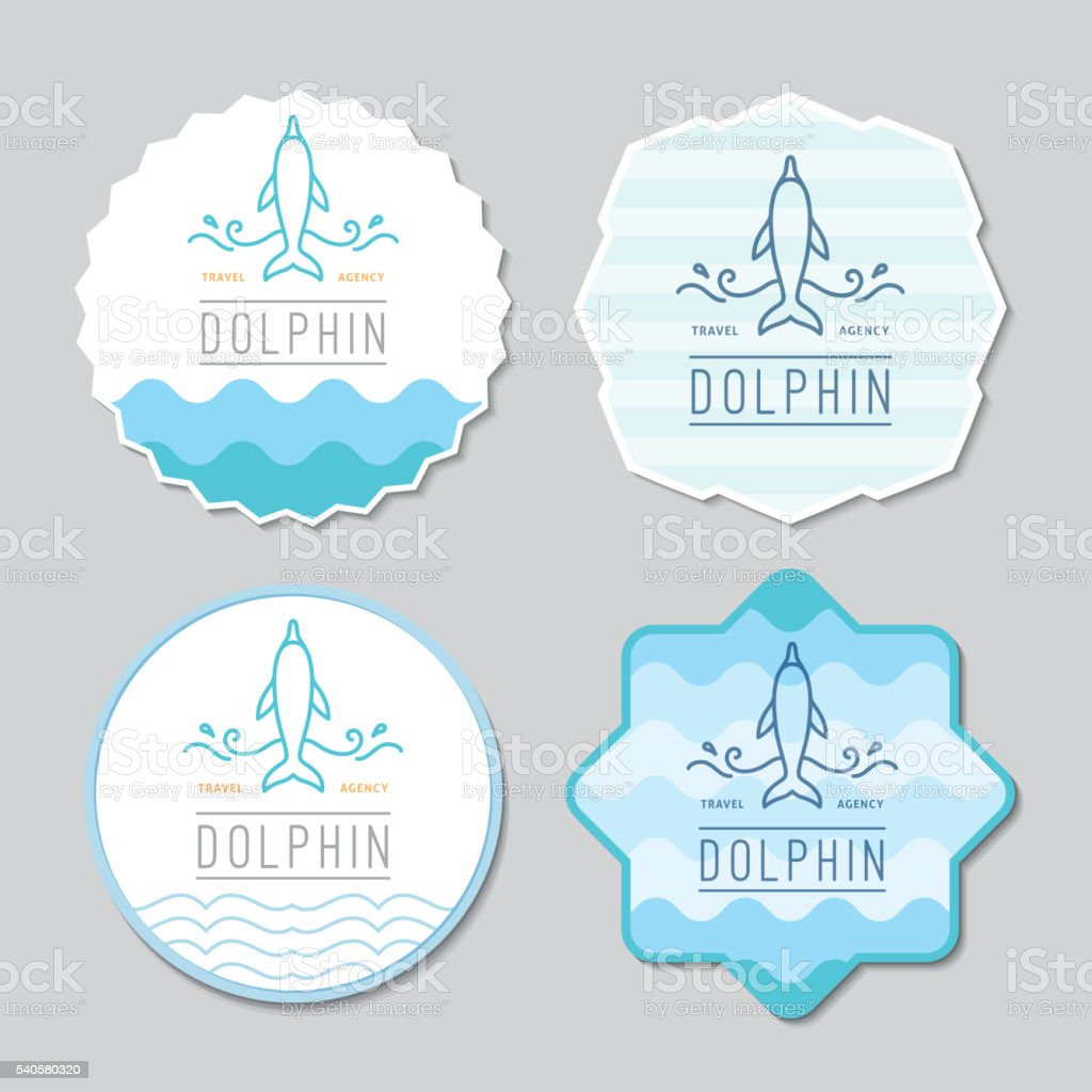 logo of dolphin and waves vector art illustration