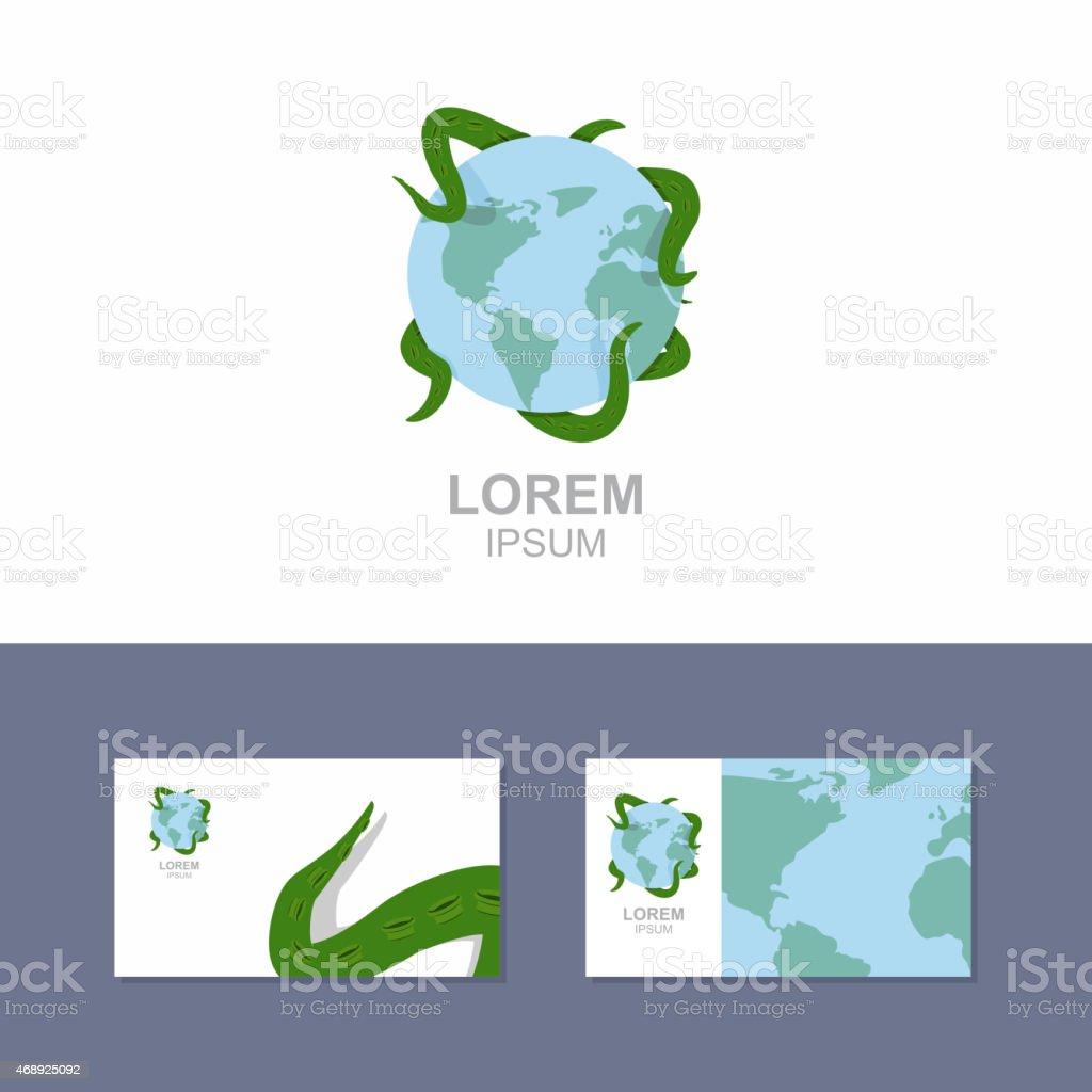 Logo Du Poulpe Se Tenant La Plante Modle De Carte Visite Professionnelle Stock Vecteur