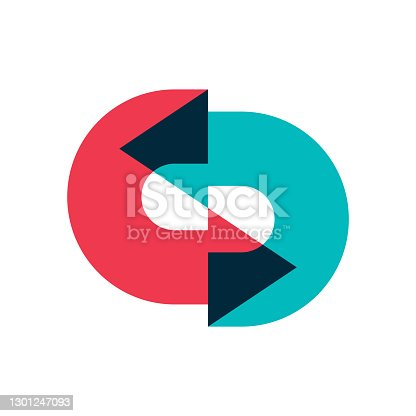 istock Logo of two arrows moving in a circle one after the other with overlapping. Color image of multi-colored arrows, designation of a circular movement. Isolated vector on white background. 1301247093