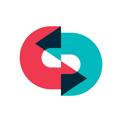 Logo of two arrows moving in a circle one after the other with overlapping. Color image of multi-colored arrows, designation of a circular movement. Isolated vector on white background.