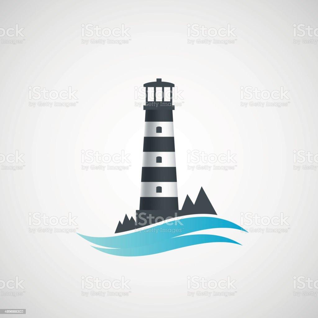 Logo old lighthouse. vector art illustration