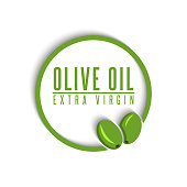Logo olive oil extra virgin text in a round frame with two olives, the label mockup