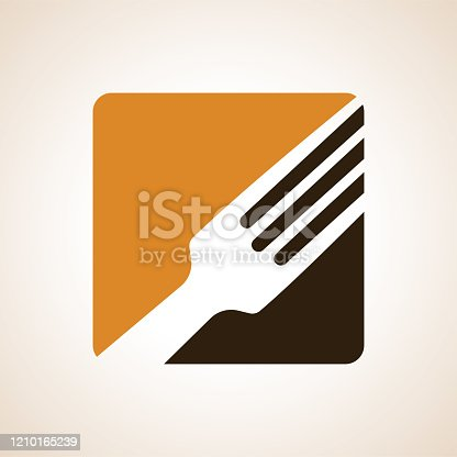 istock Logo or emblem for a restaurant, cafe or diner. Parts of the fork and a spoon in the icon. A simple and modern. 1210165239