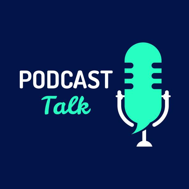 ilustrações, clipart, desenhos animados e ícones de logotipo ou ícone conversa de podcast com cor clara, gráfico do vetor - podcast