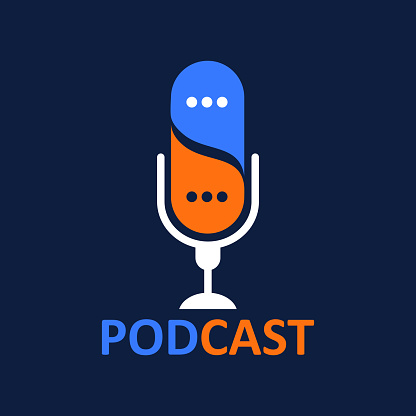 logo or icon podcast with talk balloon ,vector graphic