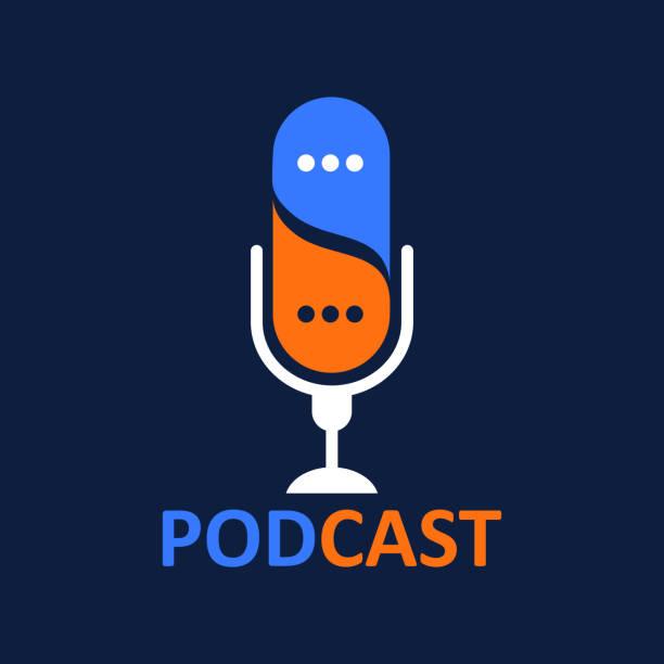 ilustrações, clipart, desenhos animados e ícones de podcast do logotipo ou do ícone com balão da conversa, gráfico do vetor - podcast