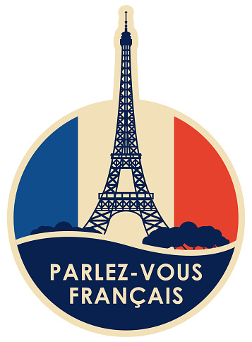 Vector logo or icon on the topic of learning French for language schools or online courses. Round banner with Eiffel Tower and the inscription in french, which translates as Do you speak French