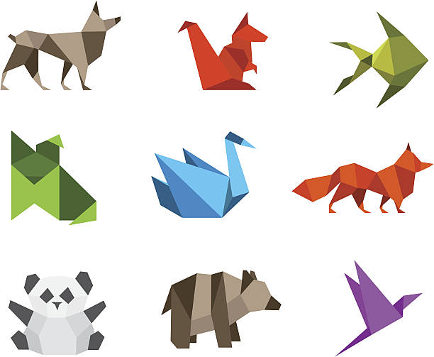 Logo Origami animals stylizations vector art illustration