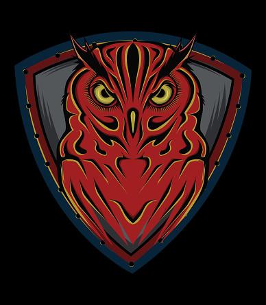 Logo owl with shield