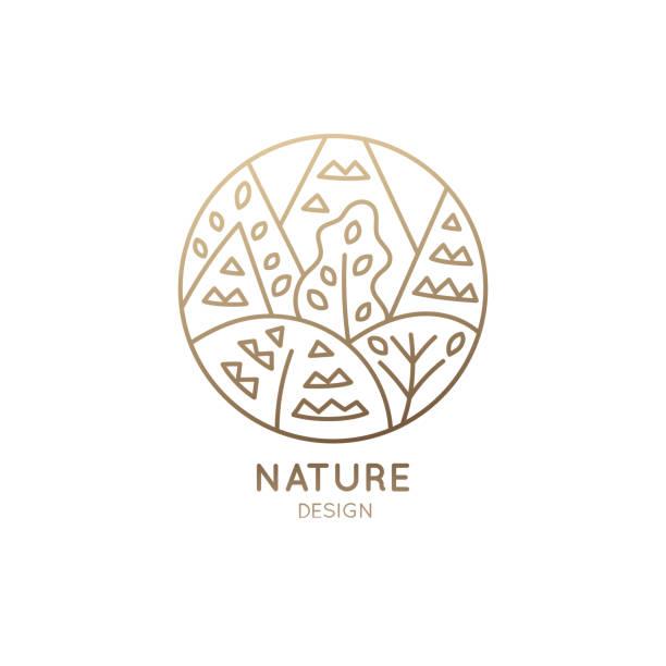 logo patterned trees - jungle stock illustrations