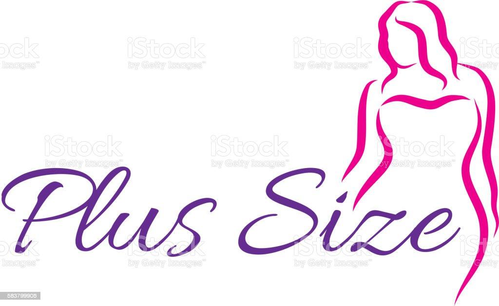 Logo plus size woman. Curvy woman symbol, logo. Vector illustration vector art illustration