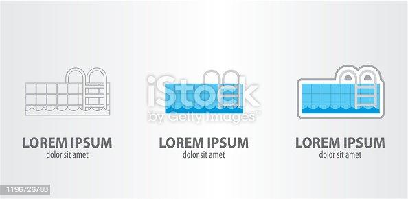 Logo pool, contour logo, stroke logo