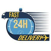 A logo promoting fast same day delivery
