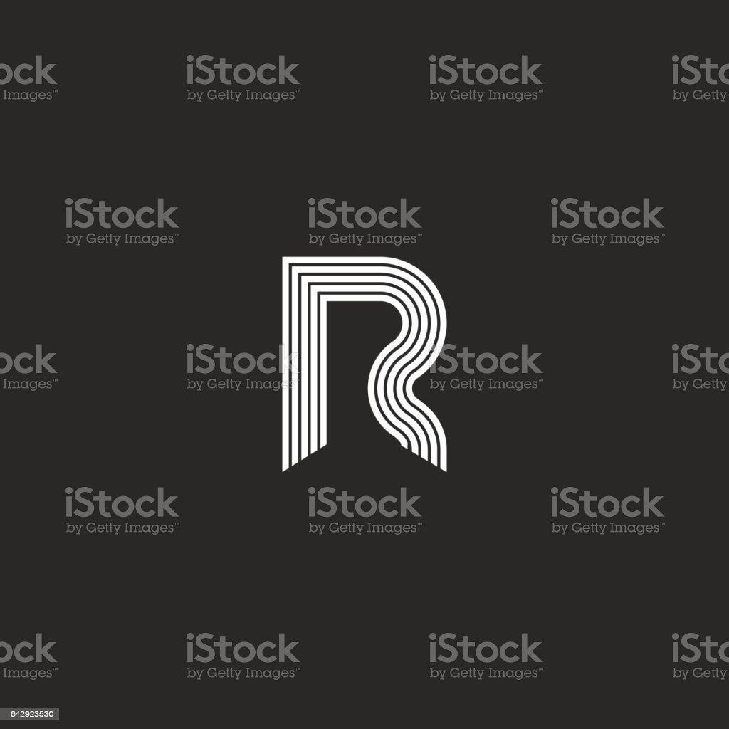 Logo R letter monogram thin lines style vector art illustration