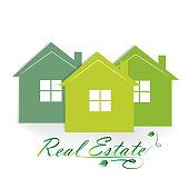 Logo real estate houses vector illustration design