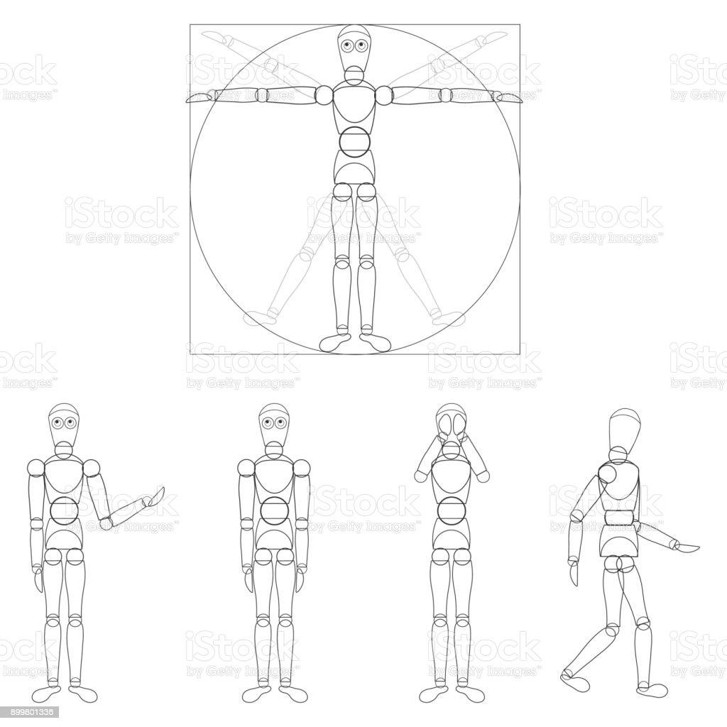 Logo Robotik Der Vitruvianische Mensch Da Vinci Stock Vektor Art und ...