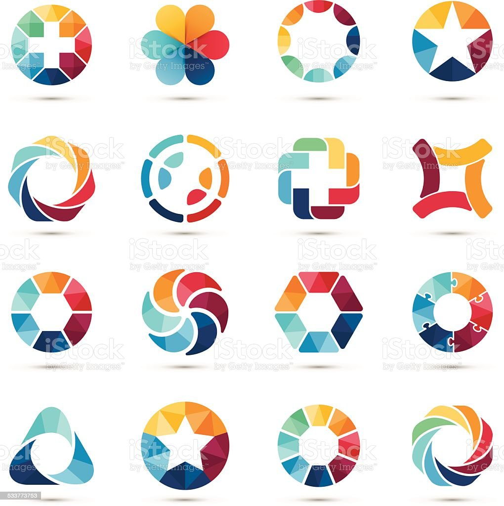Logo set. Circle signs and symbols. vector art illustration