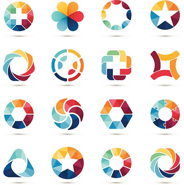Logo ensemble. Cercle signes et de symboles. - Illustration vectorielle