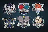 Logo set for football, ping pong, basketball, hockey, tennis, volleyball