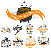 Large logo set of Happy Halloween eerie designs with various texts decorated with pumpkins bats ghosts zombie in orange and black on white. All Hallows Eve Trick or treat concept