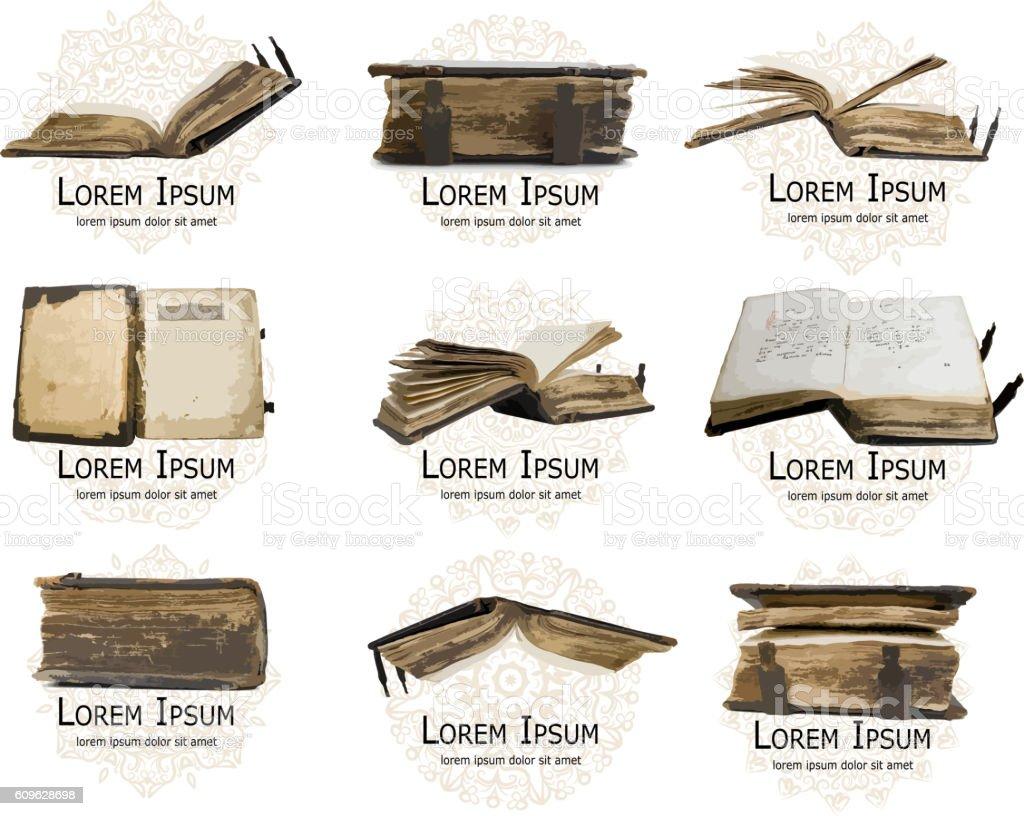Logo set with medieval old books for your design – Vektorgrafik