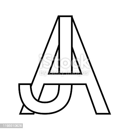 Logo sign aj icon sign two interlaced letters A, J vector logo aj first capital letters pattern alphabet a, j