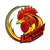 Logo sign concept with rooster profile head, copy space for text on a ribbons