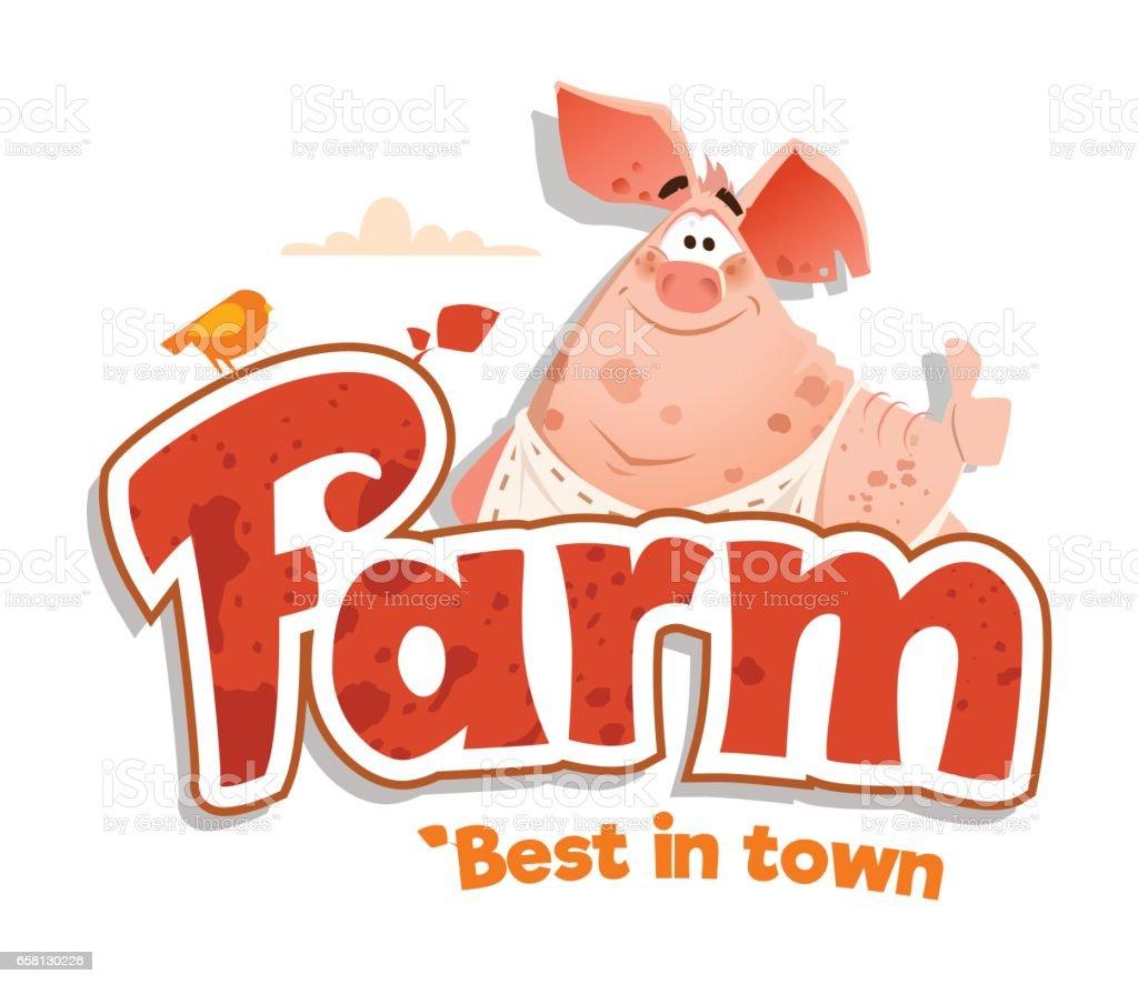 logo sign design template meat shop farm restaurant menu bbq vector art illustration