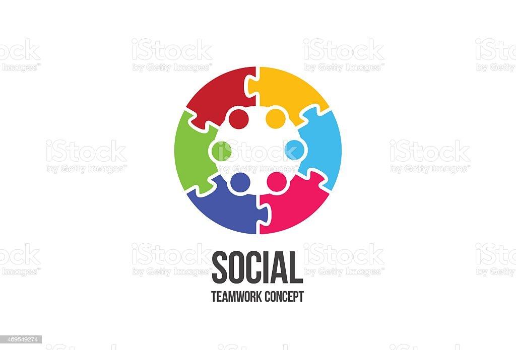 logo social teamwork colorful puzzle stock vector art