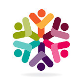 Logo teamwork happy partners friendship unity business colorful icon logotype vector image template