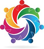 Teamwork hugging people business logo vector image