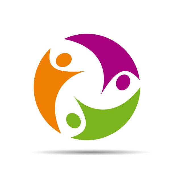stockillustraties, clipart, cartoons en iconen met logo teamwerk op witte achtergrond # vector - drie personen