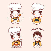 Logo template elements with cute woman chef holding plate croissant, Birthday cake, kitchen tools and saying thank you for your order. Hand drawn vector illustration